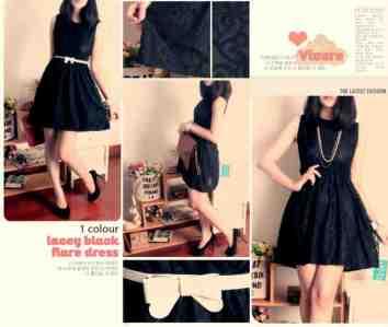 Lacey Black Flare Dress - ecer@62rb - seri4pcs 224rb - highquality lace + full furing +pinggang full karet + free white ribbon belt - fit to L