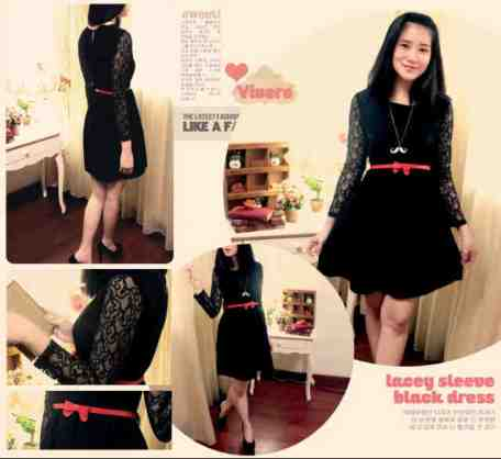 Lacey Sleeve Black Dress - ecer@64rb - seri4pcs 232rb - FREE RED BELT - badan bhn twistcone, lengan brukat, pinggang full karet - fit to L