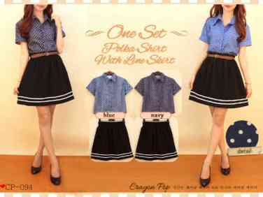 CP094 (kemeja+rok+belt) - ecer@71 - seri4pcs 264rb - bahan denim+twistcone - fit to L