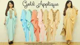 Gold Applique Kaftan - ecer@92 - seri6w 522rb - bahan twistcone - fit to XL