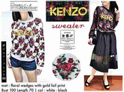 KENZO Floral Sweater - ecer@66 - seri4pcs 240rb - bahan prada wedges tebal + foil emas - fit to XL