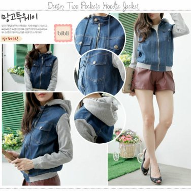 Pocket Hoodie Jacket - ecer@78 - seri4pcs 252rb - bahan jeans + baby terry - fit to L