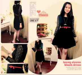 RESTOCK BEST SELLER! Lacey Sleeve Black Dress - ecer@64rb - seri4pcs 232rb - FREE RED BELT - badan bhn twistcone, lengan brukat, pinggang full karet - fit to L