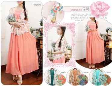 Spring Maxi Set (dress+cardi) - ecer@112 - seri4w 424rb - bahan chiffon+furing - fit to L