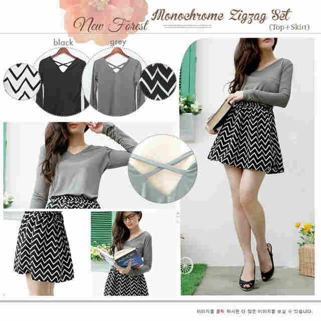 ZigZag Mono Set(top + skirt ) - ecer@65rb - seri4pcs 240rb - HQ Twistcone + Spandex - fit to L
