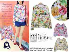Chanel Wild Flower - ecer@69 - seri4w 252rb - bhn Wedges Print import- fit to XL