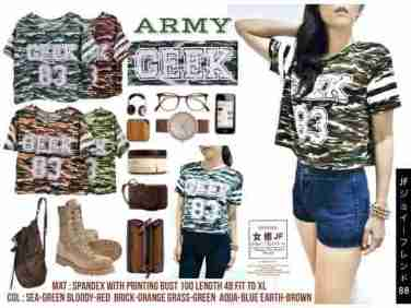 GEEK83 Army - ecer@41rb - seri6w 216rb - bahan Spandex + tangann Stripe - fit to XL