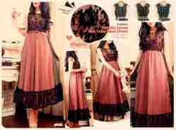 Natalie Lacey Tulle Maxi Dress - ecer@83rb - seri 4w 312rb -HQ tulle+brocade+lapisan dalam twistcone+full karet+sleting fit L