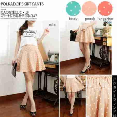 Polkadot Skirt Pants - ecer@61rb - seri4w 224rb - bahan Wedges Tebal + Furing bentuk celana + Pinggang Karet - fit to XL