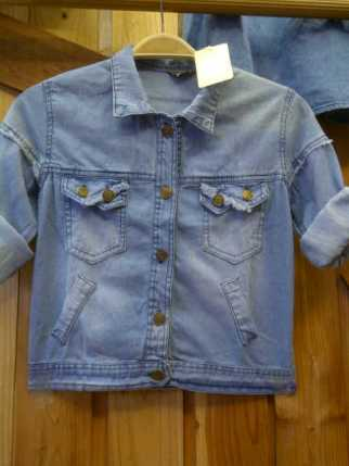 Criss Cross Pocket Jacket - ecer@81 - seri4pcs 304rb - jeans - lengan panjang - fit to L