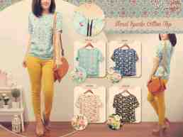 Floral Sparks Top - ecer@52 - seri4w 188rb - bahan twistcone+zipper - fit to L