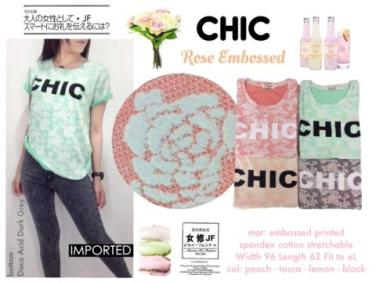 [IMPORT] CHIC - ecer@79 - seri4w 296rb - bhn kaos spandex tebal stretch emboss rose - Fit to XL