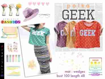 Polka GEEK Croptop - ecer@44 - seri4w 156rb - wedges - fit to L besar
