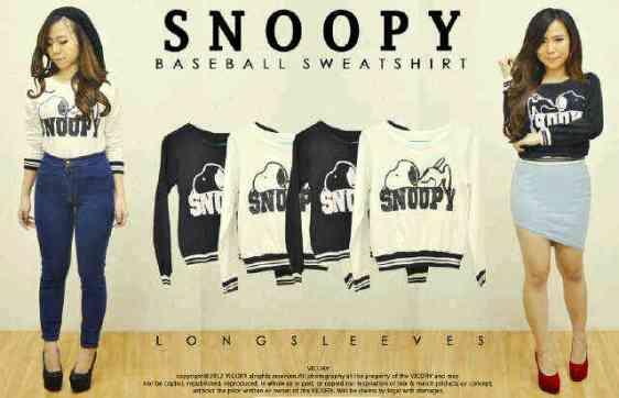 Snoopy Baseball Sweatshirt - ecer@57 - seri4pcs 208rb - babyterry - fit to L