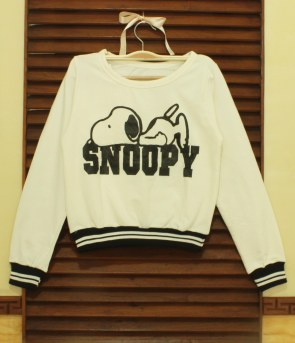 White Snoopy Baseball Sweatshirt - ecer@57 - seri4pcs 208rb - babyterry - fit to L