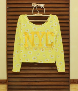 Yellow NYC Floral Crop Top - ecer@54 - seri4w 192rb - bhn Spandex licin + print foil - fit to L