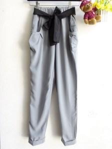 Black Ribbon Pants - ecer@59rb - twistcone - fit to L - free belt pita