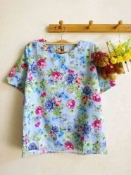 Pastel Floral Top (Light Blue) - ecer@54rb - twistcone import - fit to L