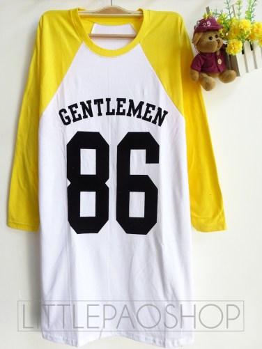 Gentlemen 86 Raglan Long Tee (yellow) - ecer@52rb - seri3w 141rb - kaos + tulisan beludru - fit to XL - lengan panjang - panjang baju 75cm
