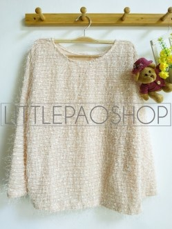 [IMPORT] Fluffy Sequin Sweater (cream) - ecer@88rb - seri3w 249rb - rajut+bulu+payet - fit to L