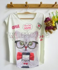 [IMPORT] Selfie Kitten Tee (white) - ecer@52rb - seri3w 144rb - jersey - fit to L