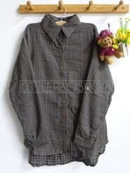 Shabby Tartan Loose Shirt (brown) - ecer@76rb - seri4w 284rb - flanel tebal - fit to XL