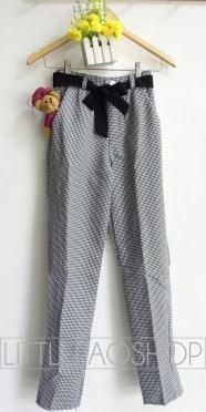 Houndstooth Baggy Pants (1warna) - ecer@75rb - seri4pcs 280rb - woolen import tebal - fit to ukuran 29 - FREE BELT PITA