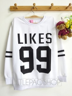 LIKES 99 Baseball Sweater (white) - ecer@55rb - babyterry - fit to L
