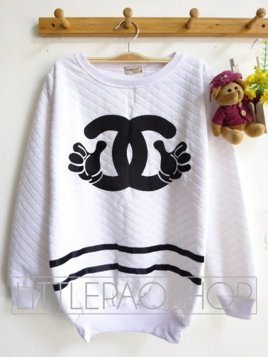 Mickey Chanel Pillow Sweater (white) - ecer@65rb - seri3w 180rb - wedges pillow - fit to XL