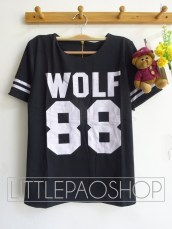 Thick Wolf Baseball Top(Black) - ecer@68rb - seri4w 252rb - wedges prada - fit to L