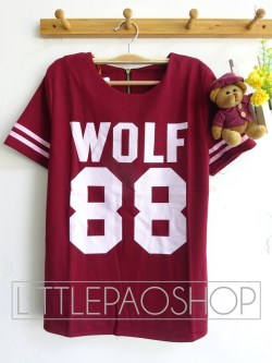 Thick Wolf Baseball Top(Red) - ecer@68rb - seri4w 252rb - wedges prada - fit to L