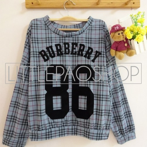 Burberry 86 Shirt (grey) - ecer@62rb - kaos+print beludru - fit to L