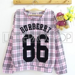 Burberry 86 Shirt (pink) - ecer@62rb - kaos+print beludru - fit to L