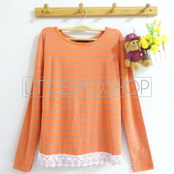 Colourful Lacey Top (orange) - ecer@67rb - seri6w 372rb - spandex +aplikasi renda + fit to L