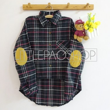 HiLo Patch Flannel Shirt (black) - ecer@80rb - flanel - fit to L