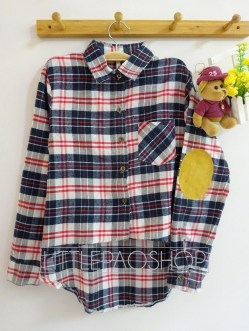 HiLo Patch Flannel Shirt (navy) - ecer@80rb - seri4pcs(2red 2navy) 300rb - flanel - fit to L