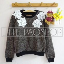 IMPORT - Neck Floral Lacey Sweater (choco) - ecer80rb - seri3w 225rb - renda+wool - fit to L