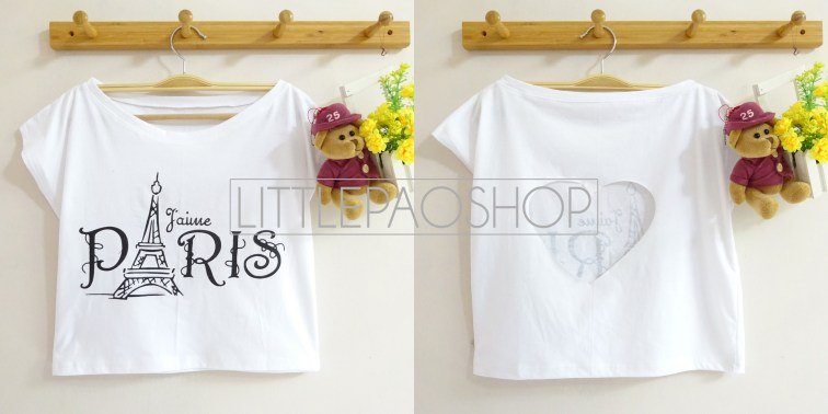 IMPORT - Paris Love Cut Crop Top (white) - ecer@70rb - seri3w 195rb - kaos - fit to L