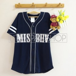 MISBHV Baseball Shirt (navy) - ecer@60rb - seri4w 220rb - spandex rayon - fit to L