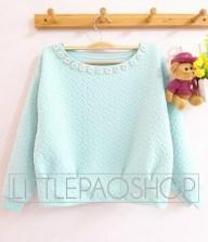 Royal Emboss Sweater (tosca) - ecer@75rb - seri4w 280rb - wedges emboss+aplikasi mutiara - fit to L