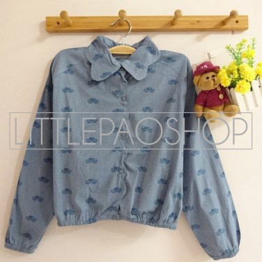 Vintage Moustache Crop Shirt (light) - ecer@62rb - seri4pcs(2light2dark) 232rb - katun denim stretch - fit to L