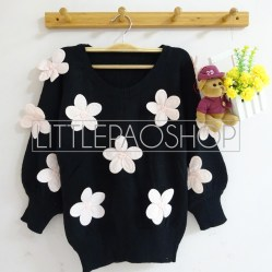 [IMPORT] 3D Flowers Knit Sweater (black) - ecer@110rb - seri5w 525rb - rajut tebal - fit to L