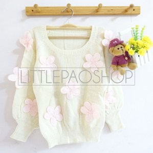 [IMPORT] 3D Flowers Knit Sweater (cream) - ecer@110rb - seri5w 525rb - rajut tebal - fit to L