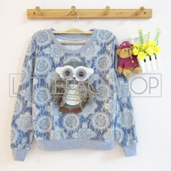 IMPORT - Antique Derpy Owl (blue) - ecer@85rb - seri3w 240rb - babyterry dgn tekstur unik - fit to L