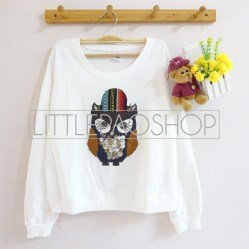 [IMPORT] Gypsy Owl Sweater (White) - ecer@85rb - seri4pcs(2white2grey) 320rb - babyterry - fit to L