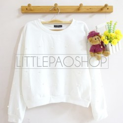 [IMPORT] Pearl All Over Sweater (white) - ecer@85rb - seri4pcs(2black2white) 320rb - wedges pillow+aplikasi mutiara - fit to L