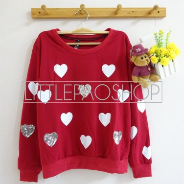 [IMPORT] Sparkles and Love Sweater (maroon) - ecer@80rb - seri4w 300rb - babyterry+aplikasi borci - fit to L