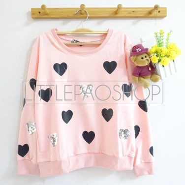 [IMPORT] Sparkles and Love Sweater (pink) - ecer@80rb - seri4w 300rb - babyterry+aplikasi borci - fit to L