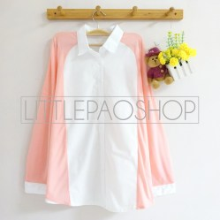 Juliette Pastel Loose Shirt (pink) - ecer@75rb - seri6w 420rb - cotton+knit halus - fit to L