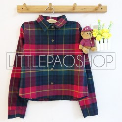 Luna Crop Flanel Shirt (red) - ecer@85rb - seri4pcs(2red2navy) 320rb - flanel - fit to L